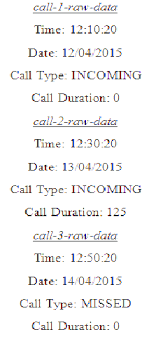 Sample Raw Data Date Time Call Type Call Duration For