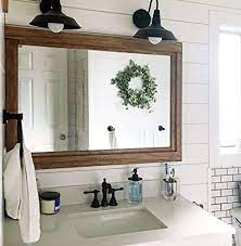 Amazon Com Farmhouse Framed Wall Mirror 20 Stain Colors Large Wall Mirror Rustic Decor Bathroom Mirror Vanity Mirror Wall Mount Mirror Large Wall Mirror Big Mirror Wood Framed Mirror Handmade