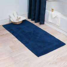lavish home navy 239 x 539 cotton reversible extra long bath rug runner mat blue