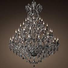 rococo black iron crystal round chandelier