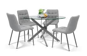 Glass top dining tables Wood Dodds Furniture Mattress Katie Glass Top Dining Table And Chairs Dodds Furniture Mattress