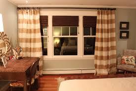 brown horizontal striped curtains