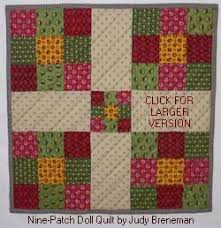 Nine Patch Quilt Patterns for Babies and Dolls & nine patch doll quilt.