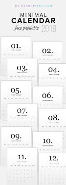 Free 2018 Minimal Calendar Printable Modern Calendar Free