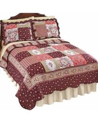 Amazing Deal on Carissa Country Patchwork Quilt, Twin, Burgundy & Carissa Country Patchwork Quilt, Twin, Burgundy Adamdwight.com