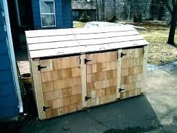 outdoor wood garbage can holder outside trash storage shed for bin holde
