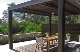 Wood trellis structure with wood inset floor contemporary-deck