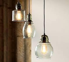 beautiful 3 bulb pendant light fixture paxton glass 3 light pendant pottery barn