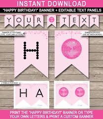 Birthday Banner Printable Dance Party Banner Template Pink