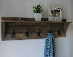Wooden Coat Rack With Shelf Unique Townson Rustic Reclaimed Wood 32 Hanger Hook Coat Rack With Shelf