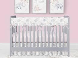 crib bedding baby girl elephant nursery