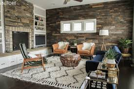 suburban es emily henderson design agony fireplace white redesign makeover brick before