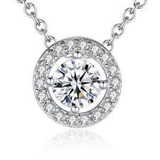 pendant necklace elegant for women with round cz