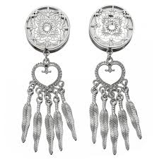 Dream Catcher Tunnels Pair CHIC Retro Dream Catcher Feathers Dangle Ear Plugs Flesh 86