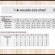 Escada Size Chart Escada Sport Size Chart 2019