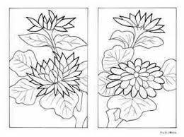 9月菊のカス札の塗り絵ー花札のイラスト 大人の塗り絵ー無料新着ぬりえ