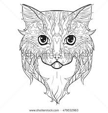 Small Picture Scottish British Cat Face Doodle Coloring Stock Vector 537487900