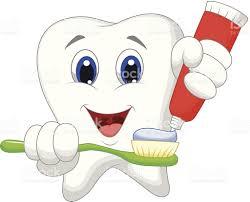 Dessin Anim De Dent Putting Dentifrice Sur Sa Brosse Dents