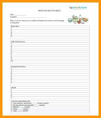 Potluck Sheet Template Word Sign Up Signup Free Te