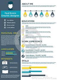 Resume Chart Flat Resume Infographic Design Stock Vector Illustration