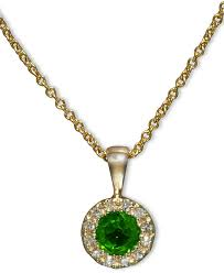 brasilica by emerald and diamond accent round on pendant in 14k gold