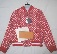 louis vuitton supreme leather baseball jacket 56 レザー ジャケット ルイヴィトン シュプリーム モノグラム red 画像