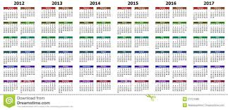 The Year Calendar Calendar For Years 2012 2017 Stock Illustration Illustration Of