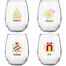 Christmas Stemless Wine Glasses (4 Piece Set)  Colorful, Cheerful Holiday  Party