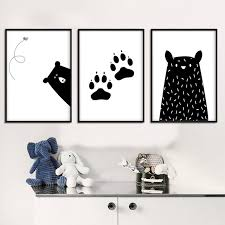 black white bear paw wall art canvas funny poster alphabet nursery quote print nordic painting picture on black and white bear wall art with black white bear paw wall art canvas funny poster alphabet nursery