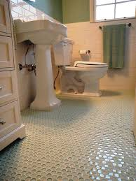1940'3 bath room up date with glass penny round floor and white subway wall