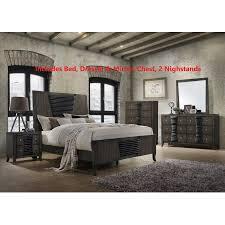Borne 6 Piece Bedroom Set, Queen, Ash Gray Wood, Shaker (Panel Bed, Dresser, Mirror, Chest, 2 Nightstands)