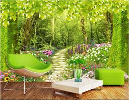 custom mural photo 3d wallpaper forest road flowers and plants home decoration painting 3d wall murals wallpaper for wall 3 d in wallpapers from home