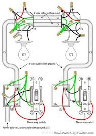 how to wire two light switches with 2 lights with one power supply wiring diagram one switch and two lights two lights between 3 way switches with the power feed via one of the light switches