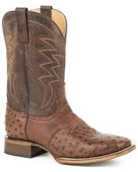 zoomed image roper men s brown deadwood ostrich skin boots square toe brown hi res