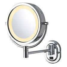 jerdon 14 in x 13 in lighted wall makeup mirror in chrome