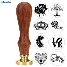 mogoko hot feather rose tree wax seal st with wood handle diy ancient seal retro st