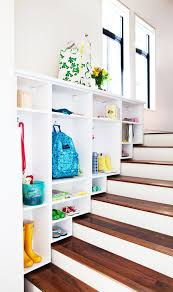 ... Smart Space Under Stair Storage Solution : Inspiring Upper Nice Brown  Wooden Staircase Storage Built With ...