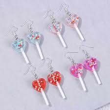 <b>1pair Women</b> Earring Resin Craft Candy Lollipop bff friendship Drop ...