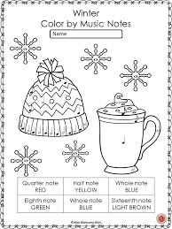 Color by Music Note: 26 Winter Music Coloring Pages   Music ...
