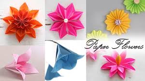How To Make Flower With Paper Folding 6 Easy Paper Flowers Paper Folding Diy Craft Youtube