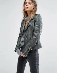 women goosecraft goosecraft double zip biker with shoulder tabs leaf green women s leather jackets jacket contemporary