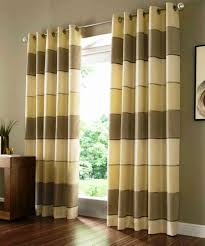 living room cleanly laminate floor mixed with chocolate wall paint also modern brown striped curtains