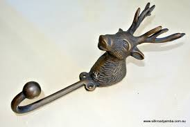 large stag deer coat hook solid brass antiques vintage old style 7 hook