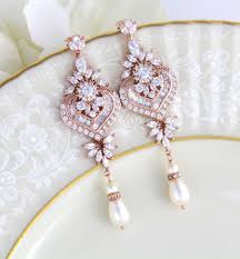 rose gold earrings bridal wedding jewelry statement chandelier mother pearl dangle diamond pendant necklace white tragus