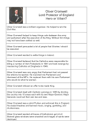 cromwell hero or villain essay oliver cromwell hero or villain essay