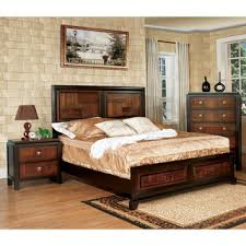 furniture of america duo tone 3 piece acacia and walnut bedroom set bed room furniture images