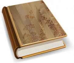 3d book icon wooden cover design flowers decoration