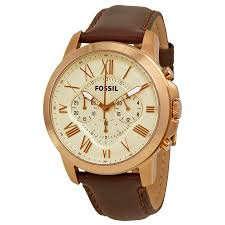 fossil grant chronograph eggshell dial brown leather mens watch zoom fossil fossil grant chronograph eggshell dial brown leather mens watch fs4991