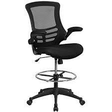 flash furniture mid back black mesh drafting chair with adjule foot ring and flip