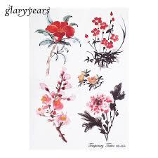 1 шт временные татуировки наклейки акварель пион цветок Wintersweet
